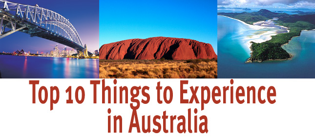 Top 10 things to experience in Australia